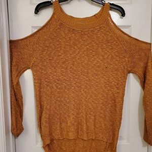 Mustard Shoulder Cut Out Sweater